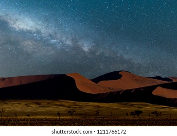 The dunes with galaxy in sossusvlei, Namibia.