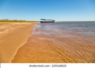 "Dunes island ""Las Dunas de San Cosme y Damian"" in the middle of the Rio Parana near the city Encarnacion in Paraguay."