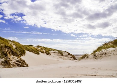 Dunes landscape with cloudy sky in Amrum Germany.