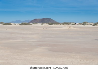 Dunes National Park beach in Corralejo with Lobos's Island background, in Fuerteventura , Canary Islands, Spain