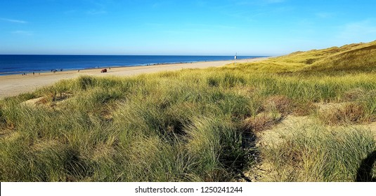 Dunes in Northern Holland at the dutch coast near Egmond aan Zee. View above the dune grass towards the sea.