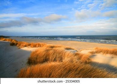 dunes on a baltic sea shore, poland near Ustka city