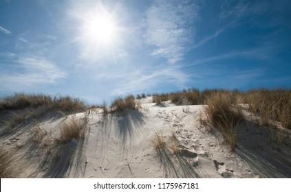 Dunes on a beach at Lacanau, western France.