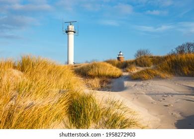 Dunes on the coast of the Baltic Sea in Kolobrzeg, Poland.