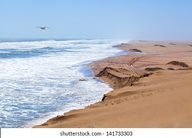 Dunes and sea in Namibia