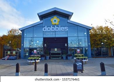 Dunfermline, Scotland/UK - October 20 2019: Exterior of Dobbies Garden Centre in Fife Leisure Park, Dunfermline, Scotland