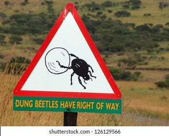Dung beetle crossing sign in an African national park - warning tourists to take care as they roll dung balls across the road.