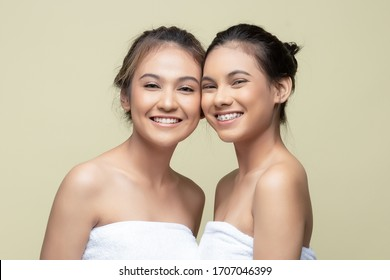 dung, Jawa Barat, Indonesia, 30 Desember 2019, two teenagers with cheerful and natural faces were doing a beauty photo shoot