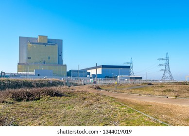 DUNGENESS, KENT, UK - 15FEB2019: Dungeness A Power Station is now decommissioned, having been in production from 1965 to 2006.