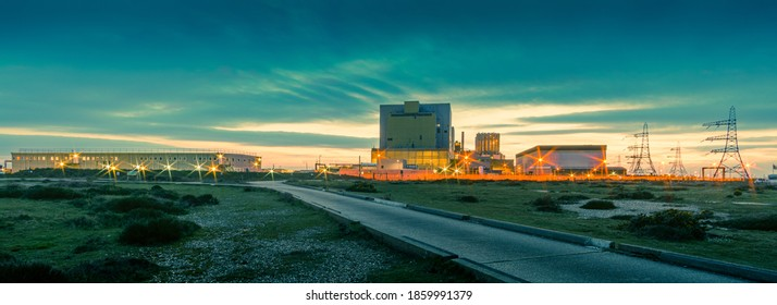 Dungeness, Kent, UK - 22nd March 2018: The EDF nuclear power station at Dungeness photographed shortly after sunset