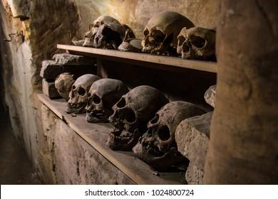 Dungeon in Kiev, Ukraine, unknown skulls