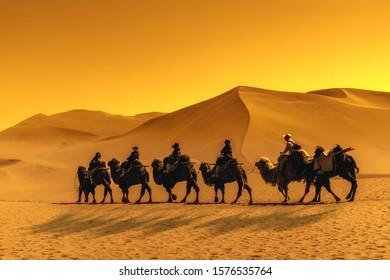 Dunhuang Mingsha mountain camel riding team