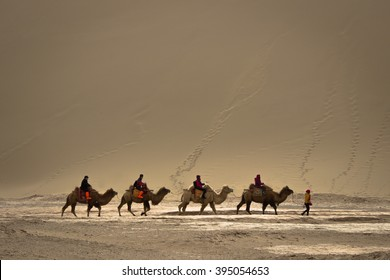 DUNHUANG,CHINA-MARCH 11: Group of tourists are riding camels in the mingsha shan desert, a part of silk road on March 11, 2016 in Dunhuang, China.