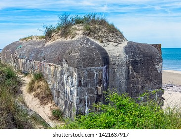 Dunkirk Beaches Bunkers - remains of a WW2 Nazi coastal gun battery, known as M.K.B Malo Terminus - Dunkirk, France on 2 June 2019