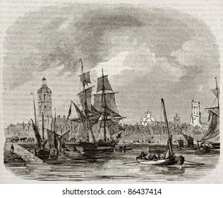 Dunkirk old view, France. Created by Morel-Fatio, published on Magasin Pittoresque, Paris, 1843