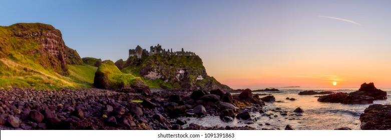 Dunluce Castle, Bushmills, Co Antrim, Northern Ireland, a setting from the Game of Thrones.