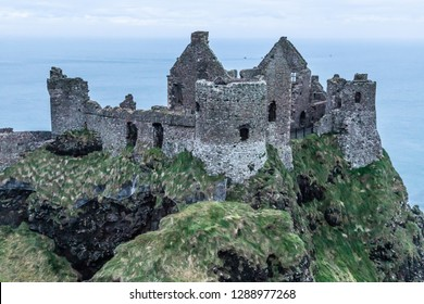 Dunluce Castle with ocean in background, Bushmills, Northern Ireland,UK
