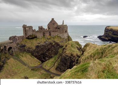 Dunluce castle ruins in Northern Ireland