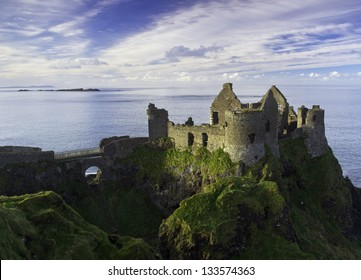 Dunluce Castle and some islands off the coast of Northern Ireland.