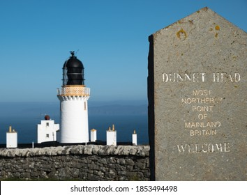 Dunnet Head, Scotland, UK 9.19.20 Sign welcoming vistors to the most northerly part of the UK; Dunnet Head in Scotland
