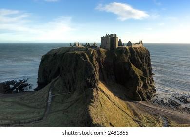 Dunnottar Castle near Aberdeen Scotland, photographed on a winter morning.