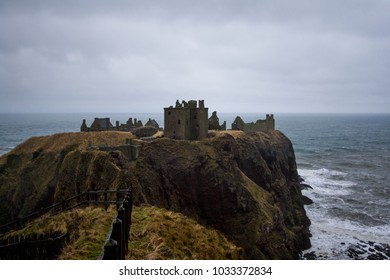 The Dunnottar Castle is a ruined medieval fortress located upon a rocky headland on the north-east coast of Scotland,