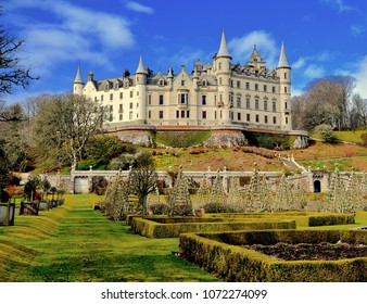 Dunrobin Castle, popular tourist attraction in the North of Scotland in the village of Golspie. Sutherland, Scotland UK. April 2018
