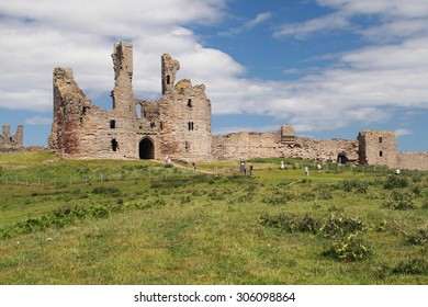 dunstanburgh castle ruins of the old medieval fortress northumberland england