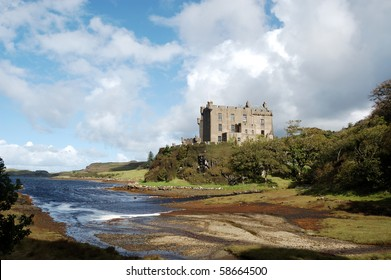 Dunvegan Castle and harbour on the Island of Skye, Scotland