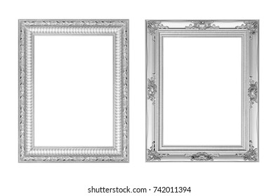 The duo antique sliver frame on the white background