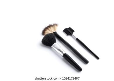 Duo fibre foundation makeup brush. Isolated. White background.