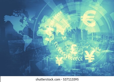 duo tone graphic of financial technology(FinTech) and world economy, abstract image visual