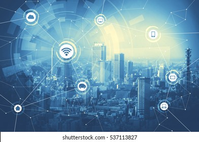 duo tone graphic of smart city and wireless communication network, IoT(Internet of Things), ITC(Information Communication Technology), abstract image visual