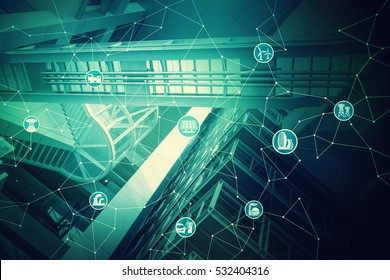 duo tone graphic of smart renewable energy, city and internet of things, environment concept image, smart grid, abstract background visual