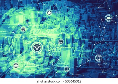 duo tone graphics of smart city diorama and wireless communication network, abstract image visual