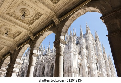 Duomo cathedral of Milan, Italy. look from the arcade portico.