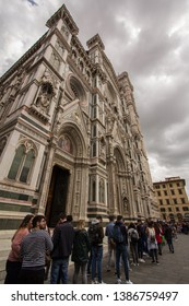 Duomo di Firenze, Toscany, Italy - 28 April 2019. People waiting in line outside Duomo to get a chance to see inside. The waiting time was estimated of 3hr approx