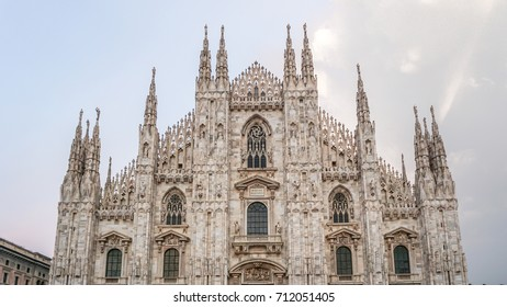 Duomo di Milano detailed exterior of the cathedral, Milan, Italy