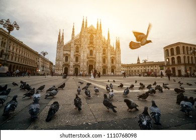 Duomo di Milano (Milan Cathedral) in Milan , Italy . Milan Cathedral is the largest church in Italy and the third largest in the world. It is the famous tourist attraction of Milan, Italy.