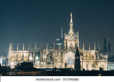 Duomo di Milano with Milan Skyline by Night