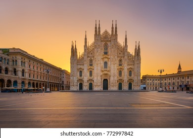 Duomo , Milan gothic cathedral at sunrise,Europe.Horizontal photo with copy-space.