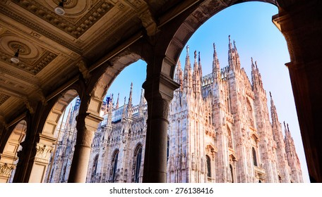 Duomo of Milan, Italy. Cathedral. Symbol of Milano.Beautiful sunset. Looking up from arcade.