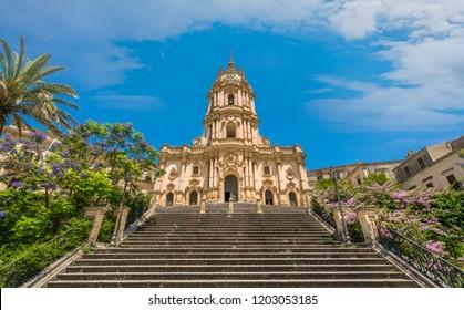 Duomo of San Giorgio in Modica, fine example of sicilian baroque art. Sicily, southern Italy.