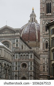 Duomo Santa Maria del Fiore in Florence covered with snow during the winter season