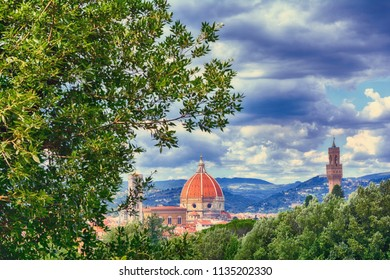 Duomo Santa Maria Del Fiore and tower of Palazzo Vecchio  in Florence, Tuscany, Italy