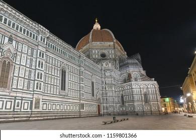 Duomo Santa Maria Del Fiore and Bargello at night in Florence, Tuscany, Italy