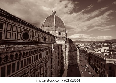 Duomo Santa Maria Del Fiore in Florence Italy viewed from top of bell tower black and white.