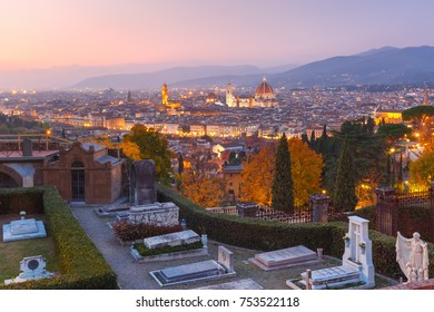 Duomo Santa Maria Del Fiore and tower of Palazzo Vecchio at beautiful sunset in Florence, Tuscany, Italy