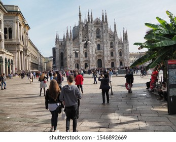Duomo square and Vittorio Emanuele passage crowded with tourists Milan Italy October 25 2019