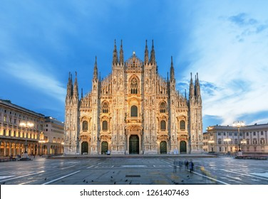 The Duomo-Cathedral symbol of Milan and ampty square, Italy